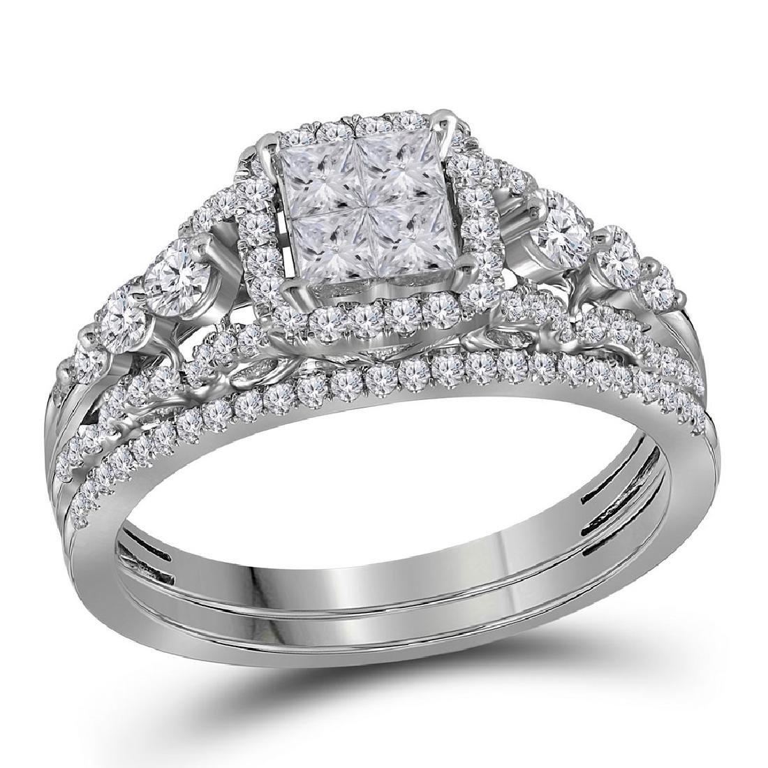 1 CTW Princess Diamond Cluster Bridal Engagement Ring