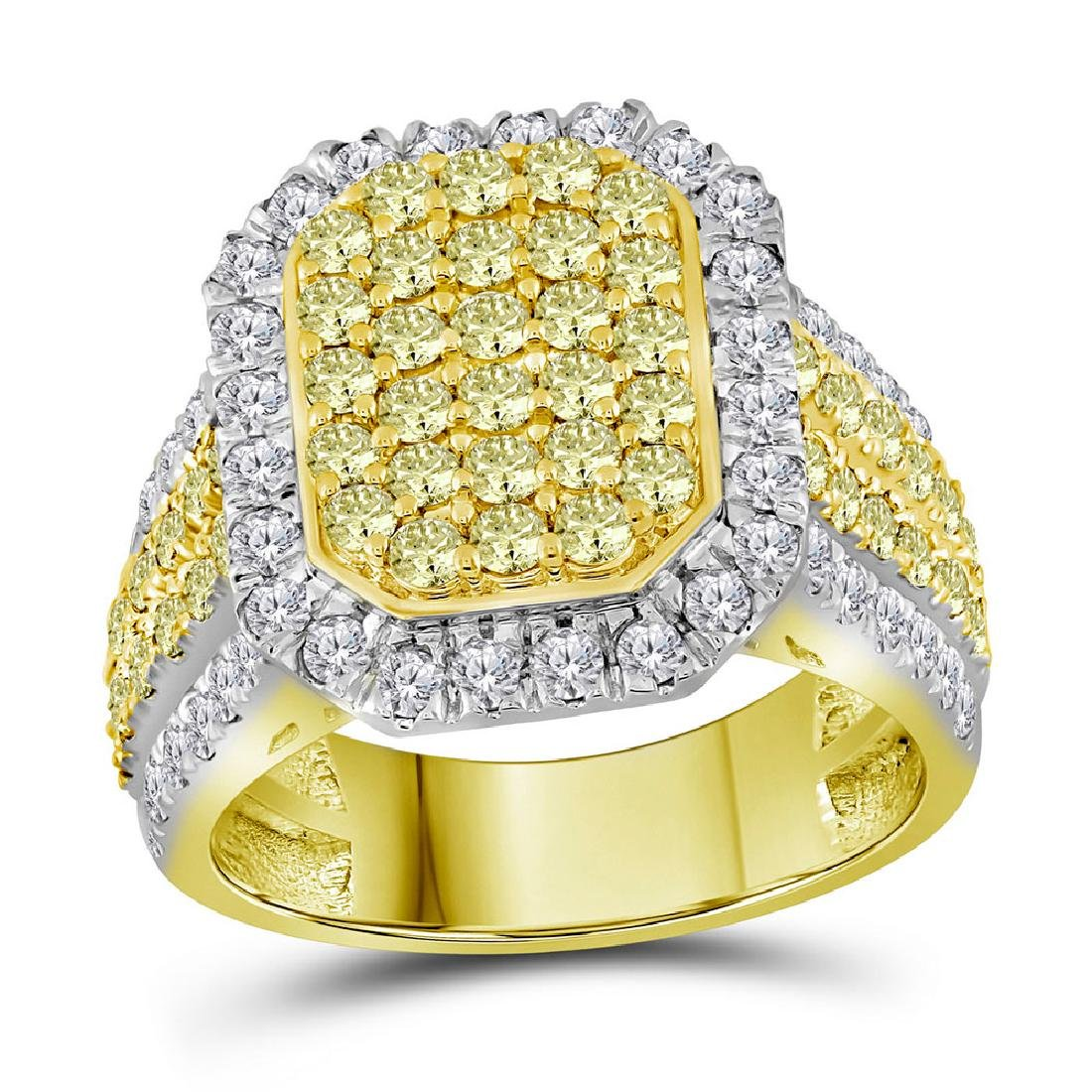 2.33 CTW Canary Yellow Diamond Rectangle Cluster Ring