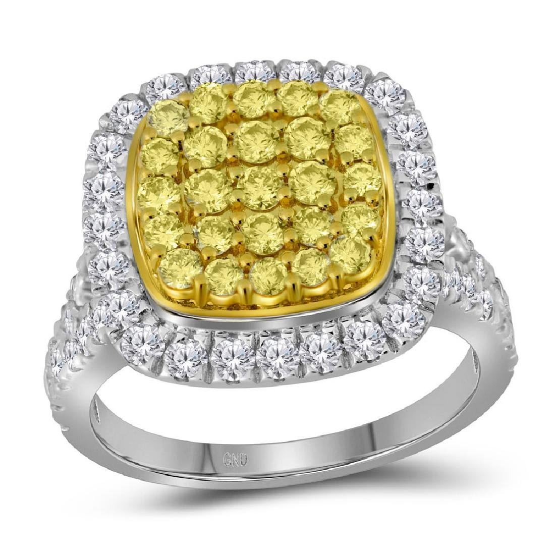 1.75 CTW Natural Yellow Diamond Cluster Ring 14KT White