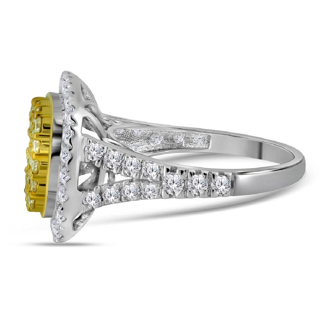 1.75 CTW Natural Yellow Diamond Cluster Ring 14KT White - 2