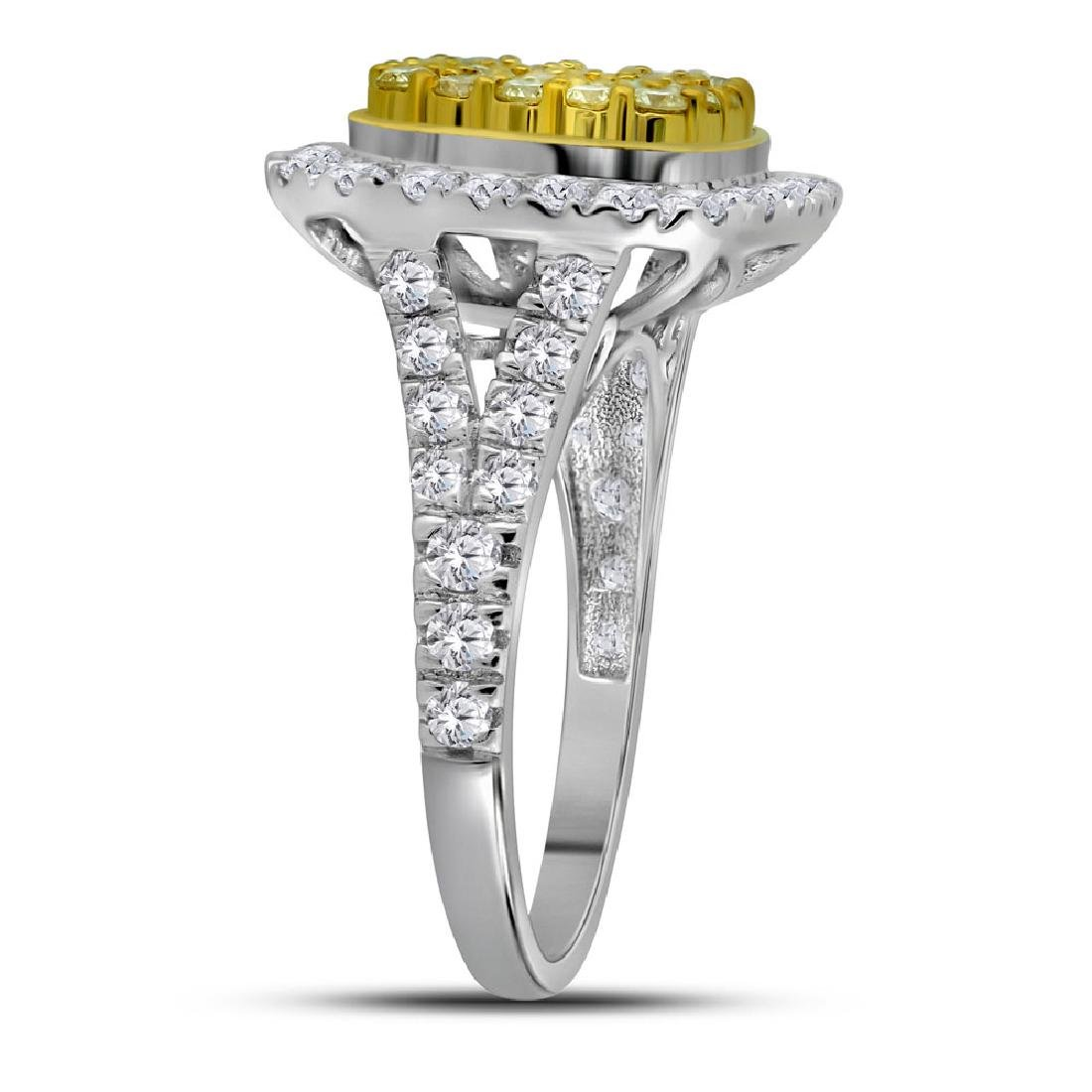1.75 CTW Natural Yellow Diamond Cluster Ring 14KT White - 3