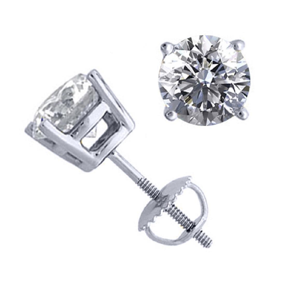 14K White Gold 2.02 ctw Natural Diamond Stud Earrings -