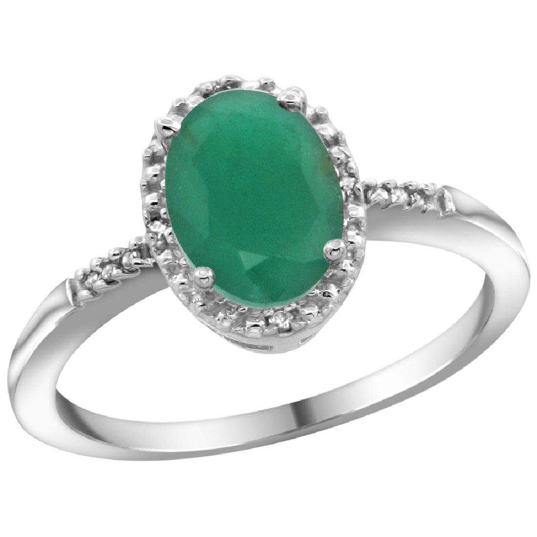 Natural 1.5 ctw Emerald & Diamond Engagement Ring 14K