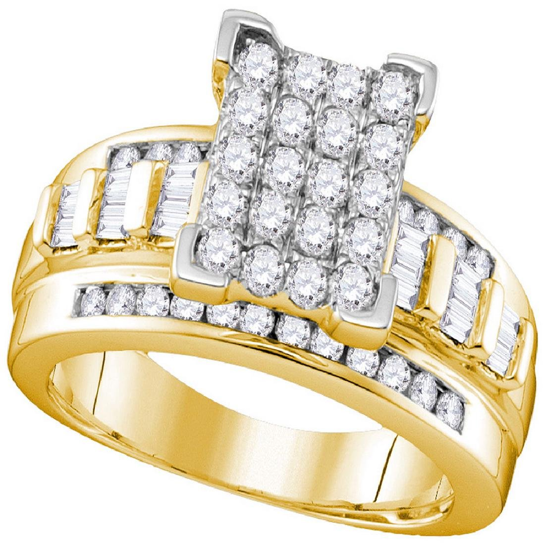 0.84 CTW Diamond Rectangle Cluster Bridal Engagement