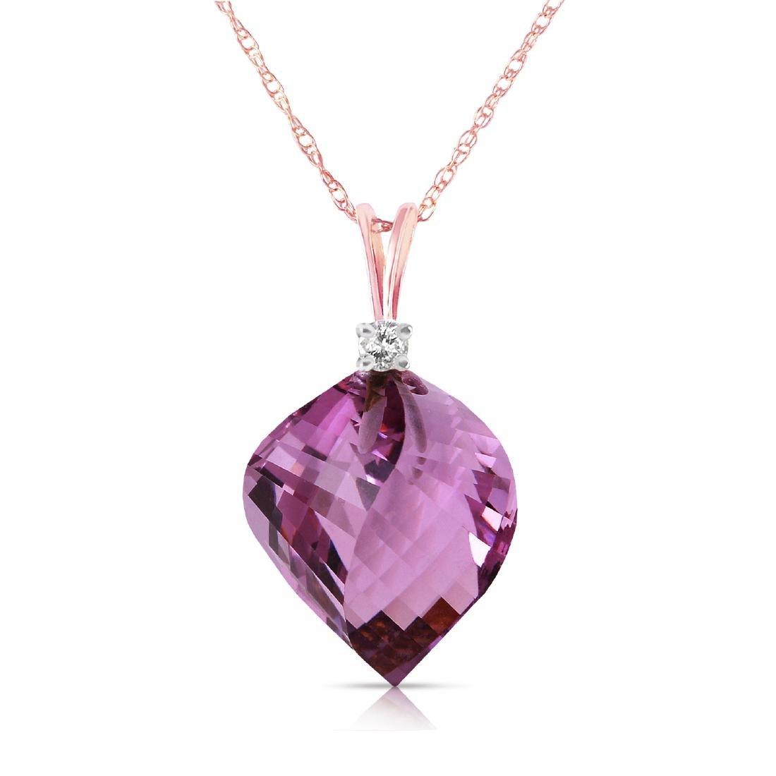 Genuine 10.80 ctw Amethyst & Diamond Necklace Jewelry