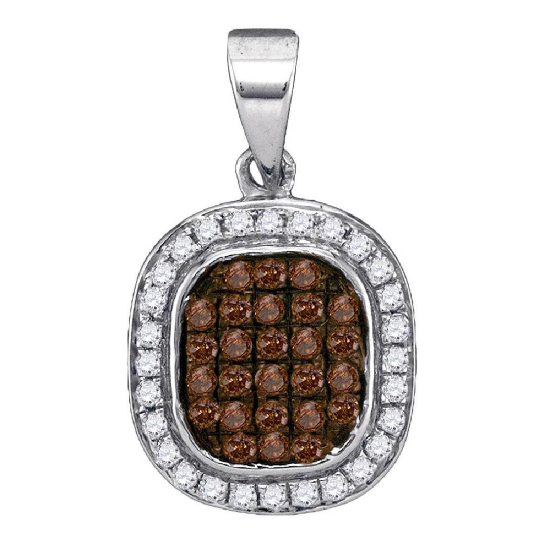 0.25 CTW Brown Color Diamond Fashion Pendant 10KT White