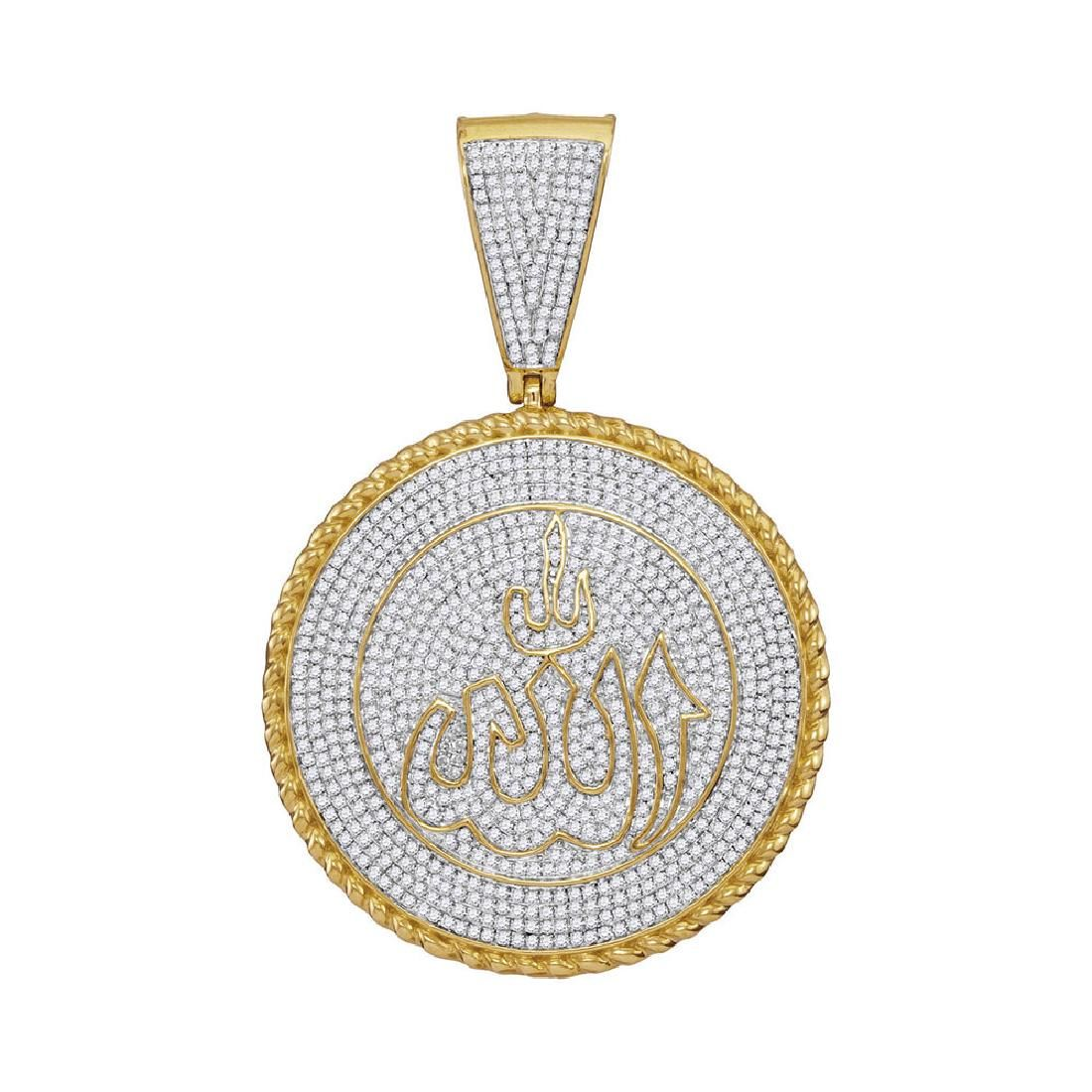 2.25 CTW Mens Diamond Allah Medallion Charm Pendant