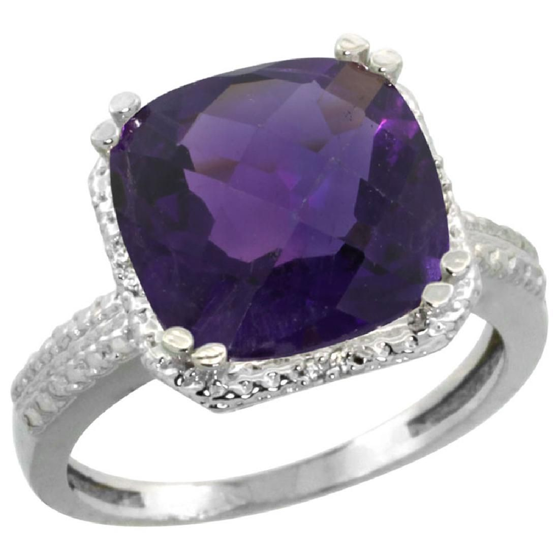 Natural 5.96 ctw Amethyst & Diamond Engagement Ring 14K