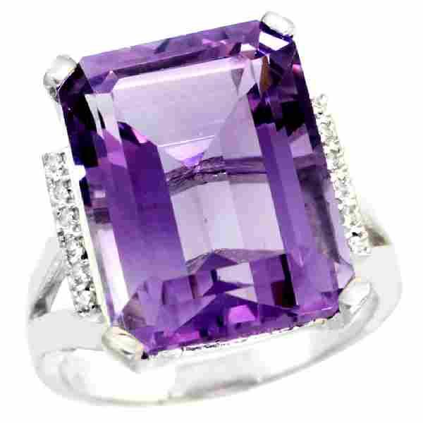 Natural 12.13 ctw Amethyst & Diamond Engagement Ring