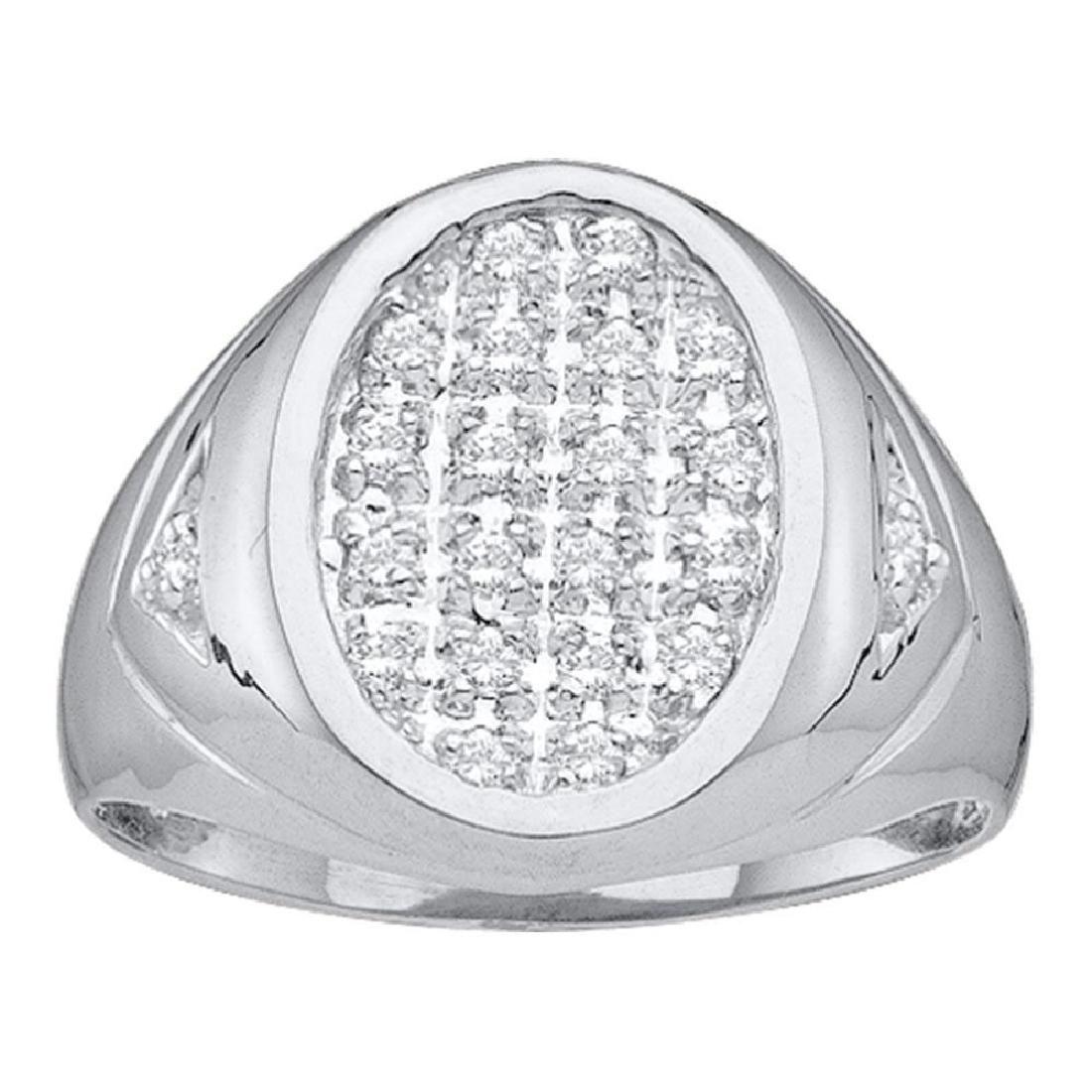 0.25 CTW Mens Diamond Oval Cluster Ring 14KT White Gold