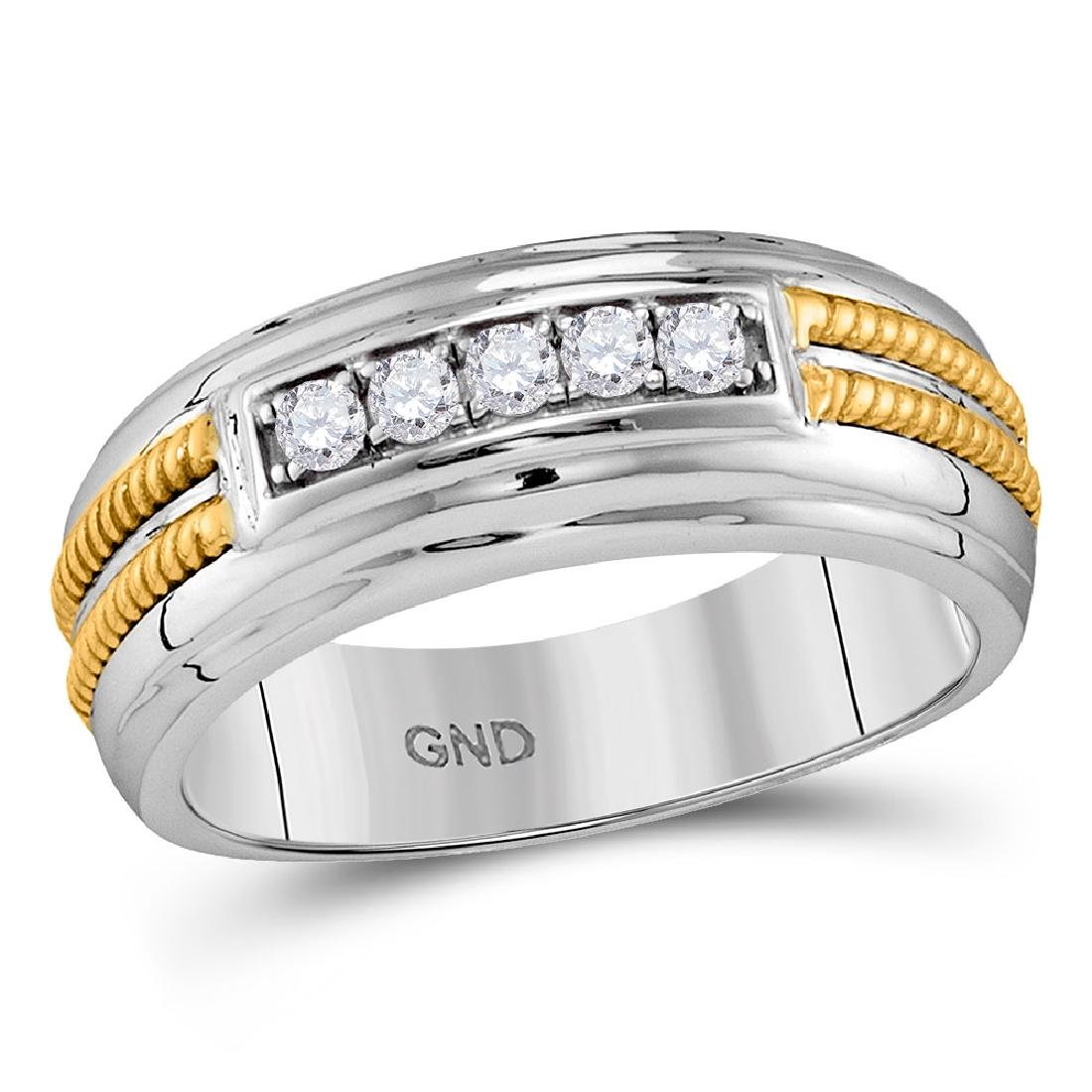 0.27 CTW Mens Pave-set Diamond Double Rope Wedding Ring