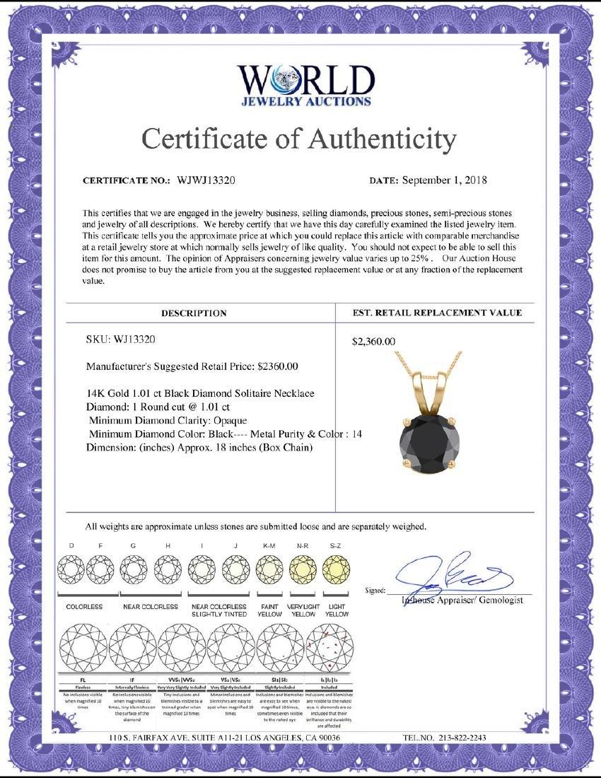 14K Yellow Gold 1.01 ct Black Diamond Solitaire - 2