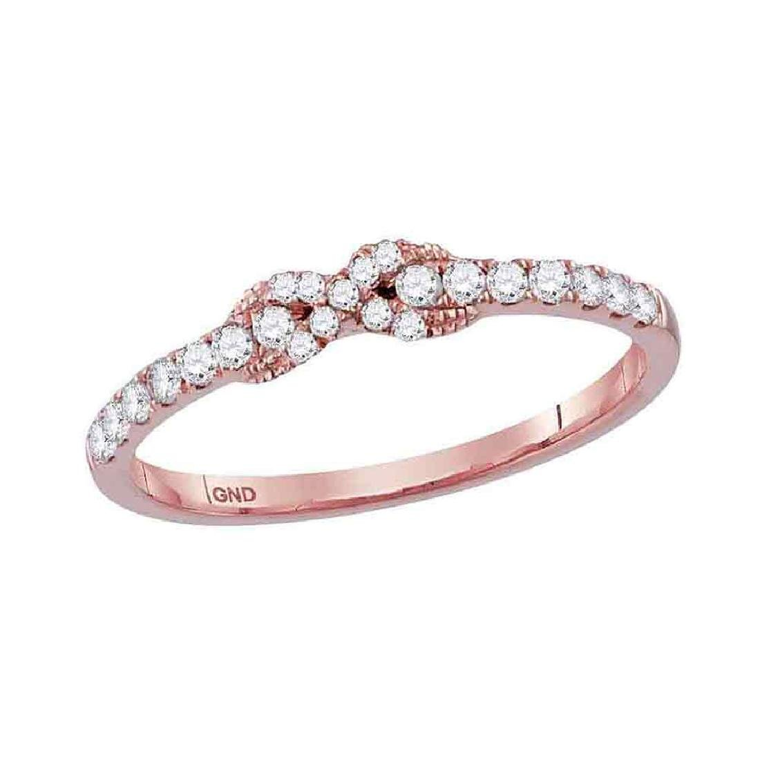 0.26 CTW Diamond Infinity Knot Stackable Ring 10KT Rose