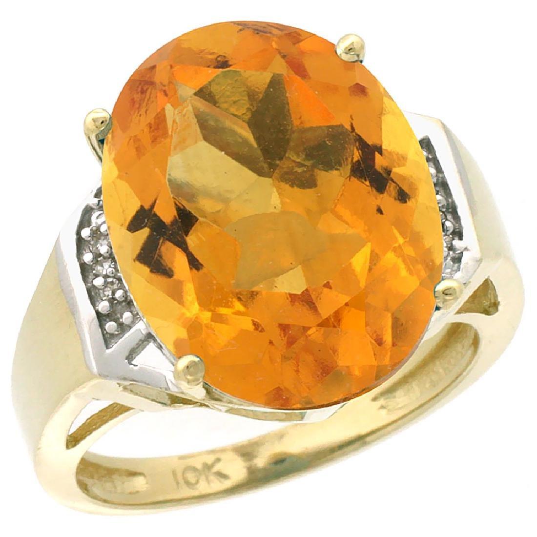 Natural 11.02 ctw Citrine & Diamond Engagement Ring 10K