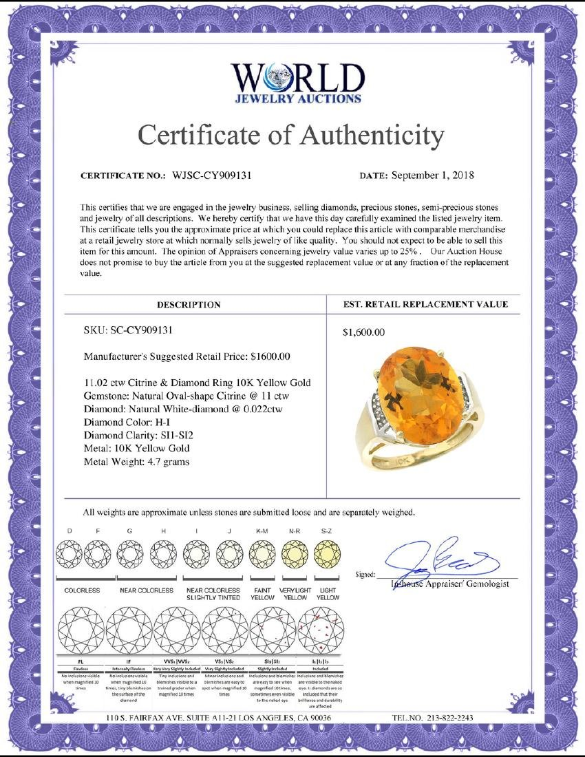 Natural 11.02 ctw Citrine & Diamond Engagement Ring 10K - 2