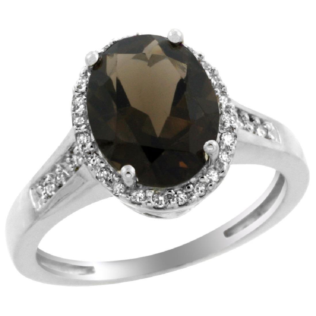 Natural 2.49 ctw Smoky-topaz & Diamond Engagement Ring