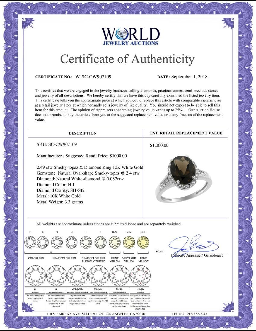Natural 2.49 ctw Smoky-topaz & Diamond Engagement Ring - 2