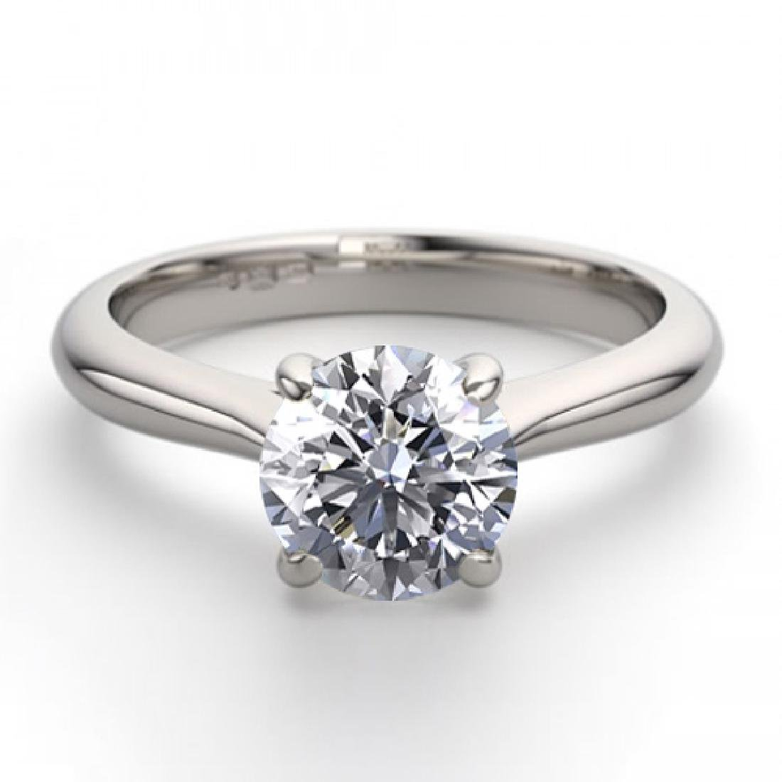 18K White Gold 0.83 ctw Natural Diamond Solitaire Ring