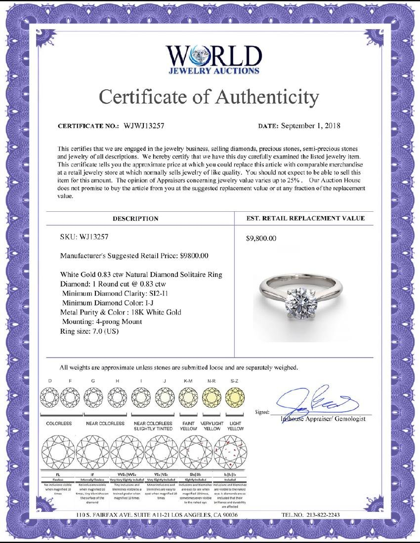 18K White Gold 0.83 ctw Natural Diamond Solitaire Ring - 2