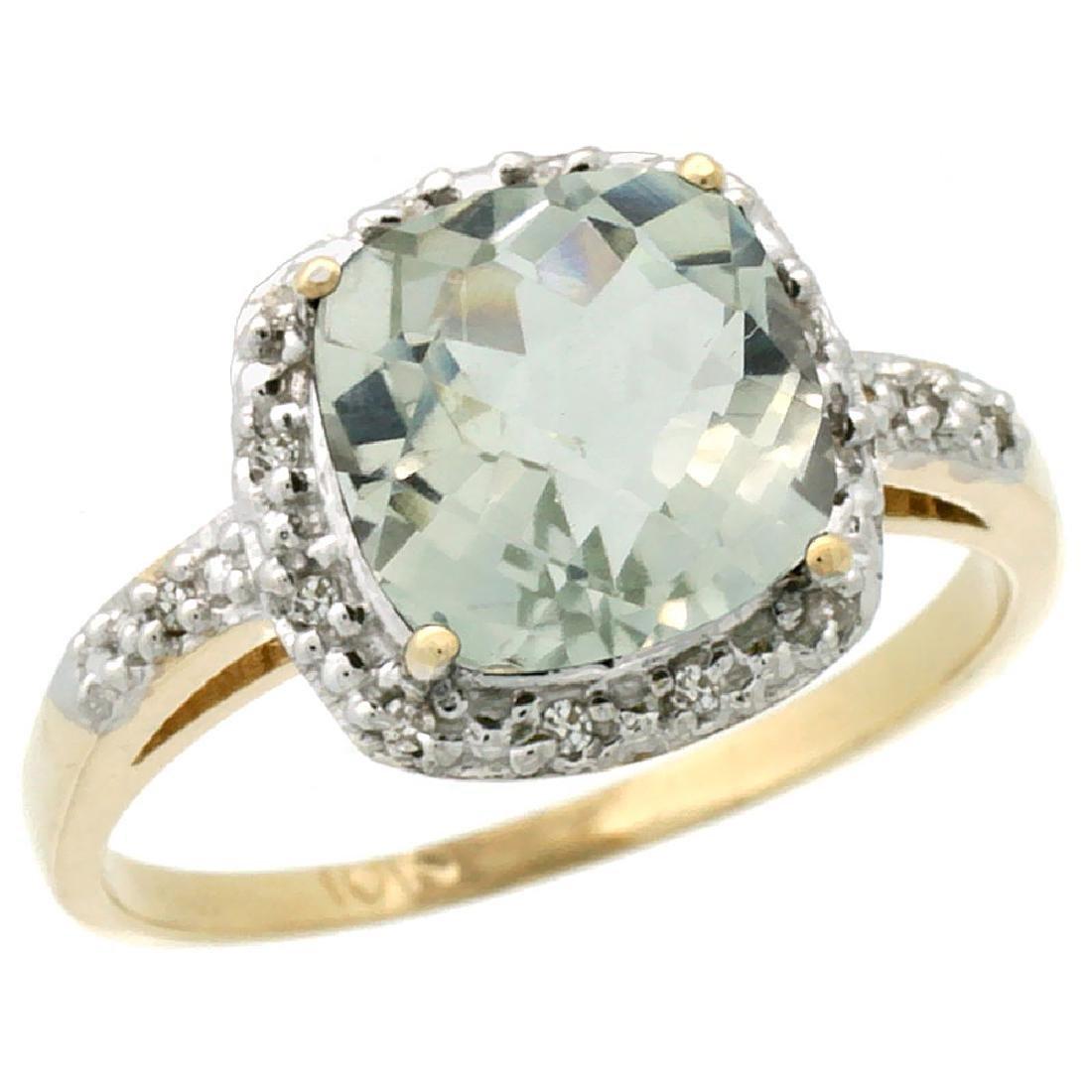 Natural 3.92 ctw Green-amethyst & Diamond Engagement