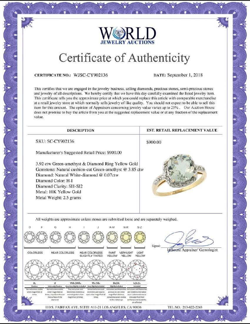 Natural 3.92 ctw Green-amethyst & Diamond Engagement - 2