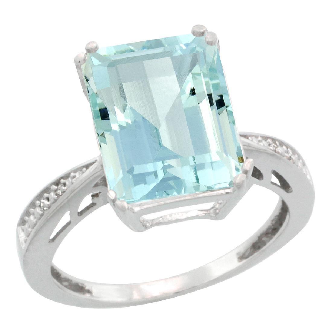 Natural 5.42 ctw Aquamarine & Diamond Engagement Ring