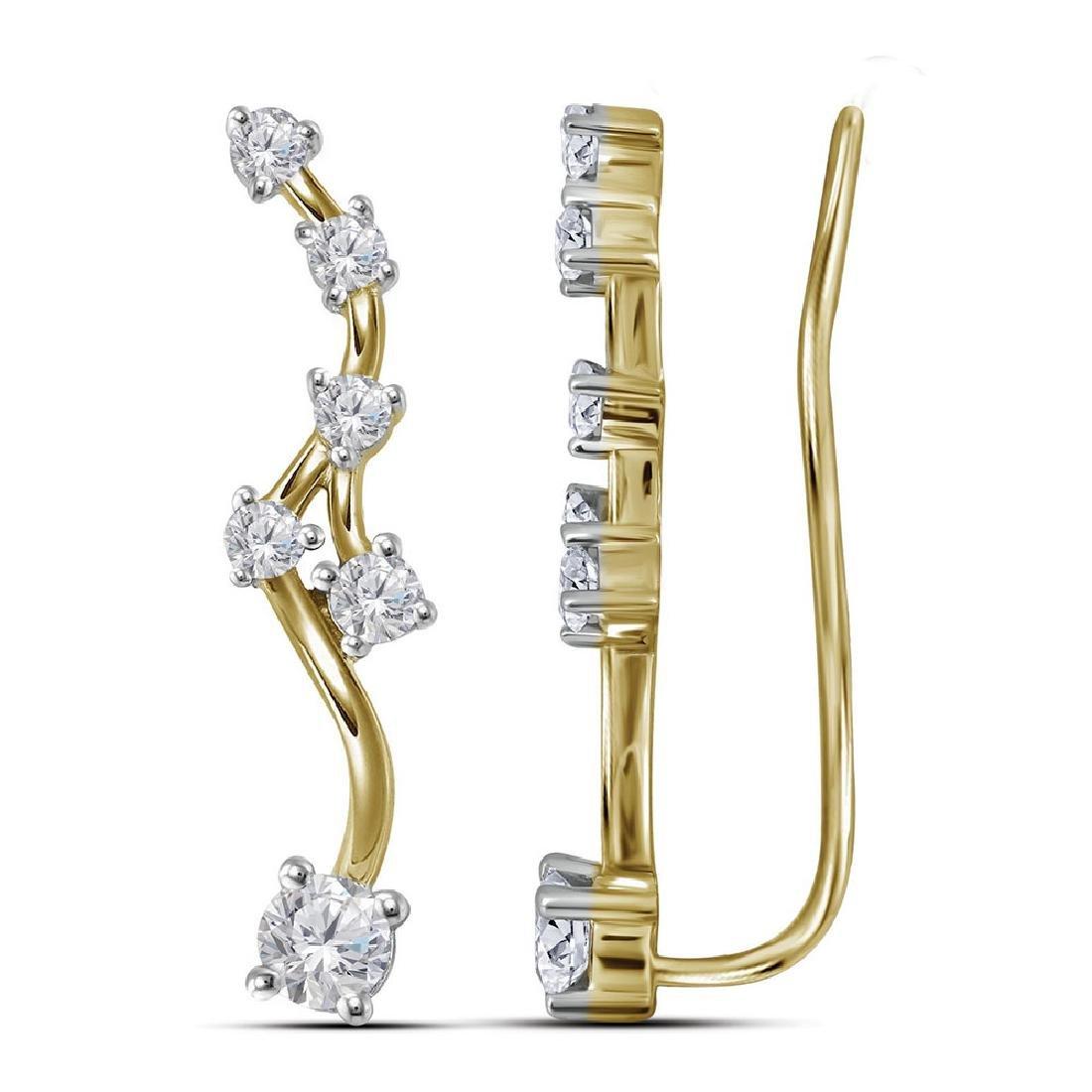 0.73 CTW Diamond Climber Earrings 10KT Yellow Gold -