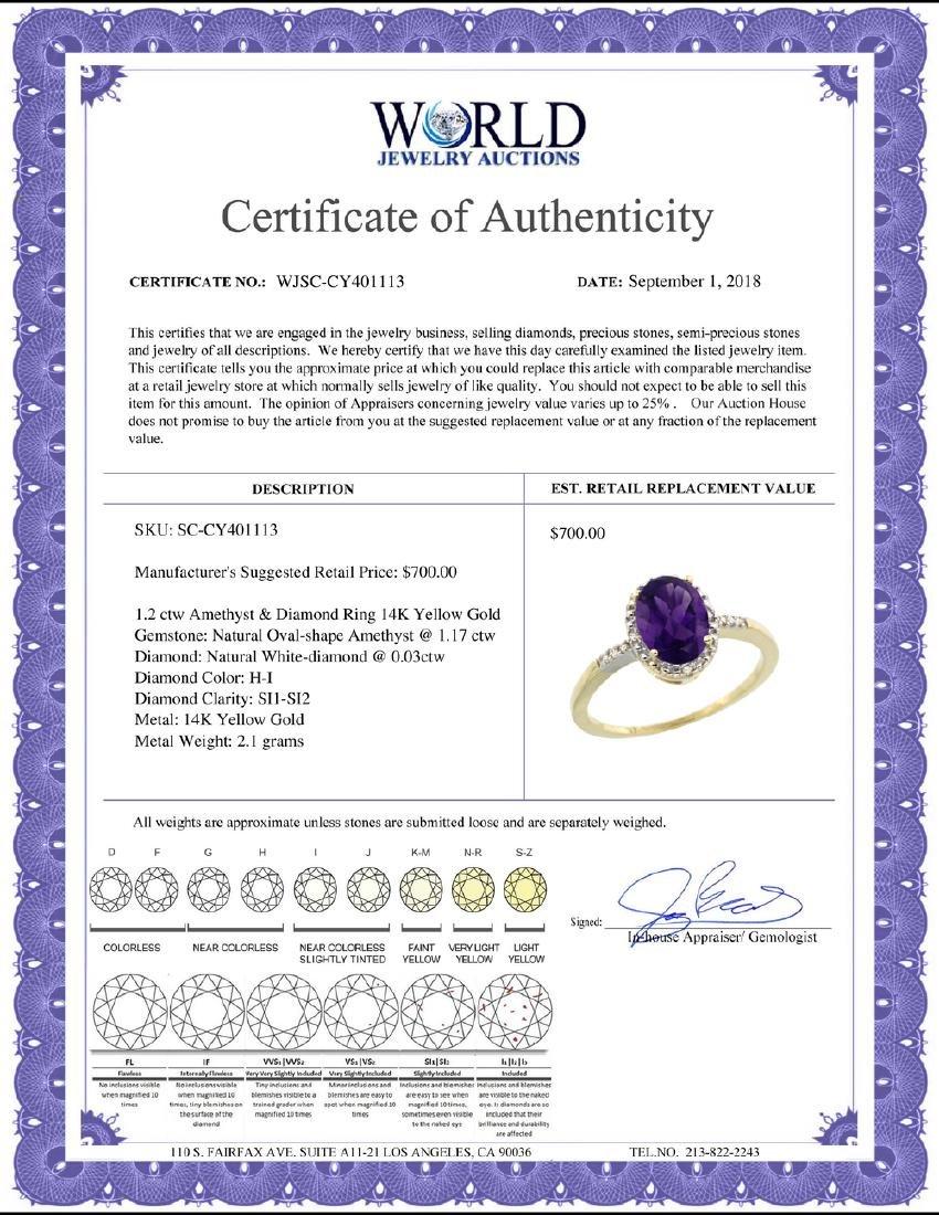 Natural 1.2 ctw Amethyst & Diamond Engagement Ring 14K - 2