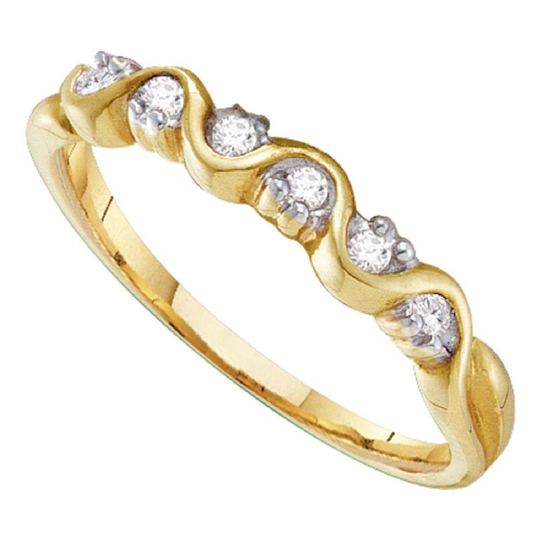 0.10 CTW Diamond Wave Ring 10KT Yellow Gold - REF-10H5M