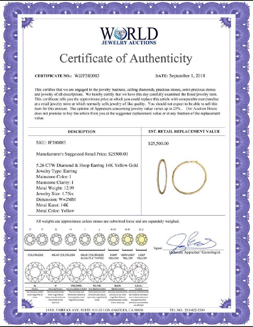 5.26 CTW Diamond Earrings 14K Yellow Gold - REF-339R2K - 2