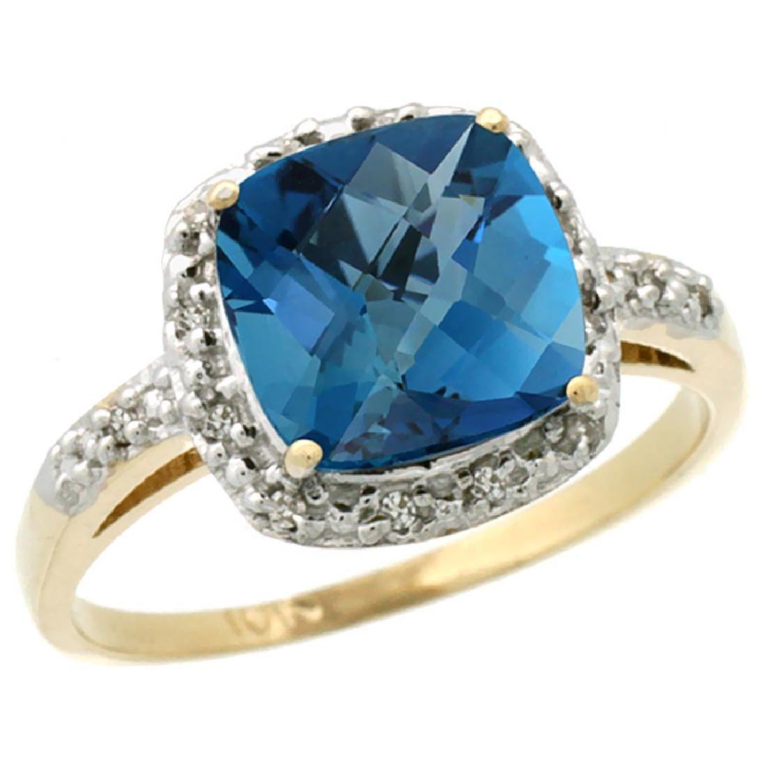 Natural 3.92 ctw London-blue-topaz & Diamond Engagement
