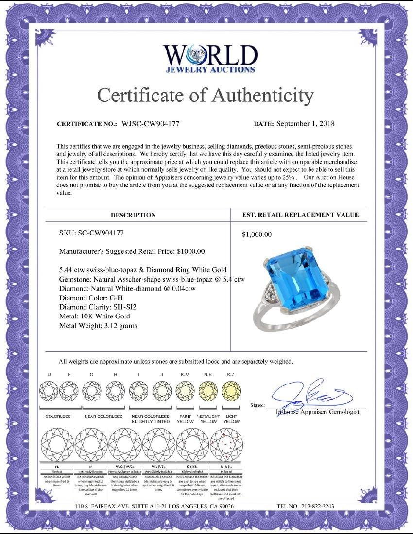 Natural 5.44 ctw swiss-blue-topaz & Diamond Engagement - 2