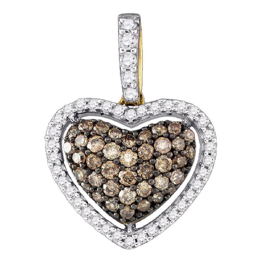 0.45 CTW Cognac-brown Color Diamond Heart Love Pendant