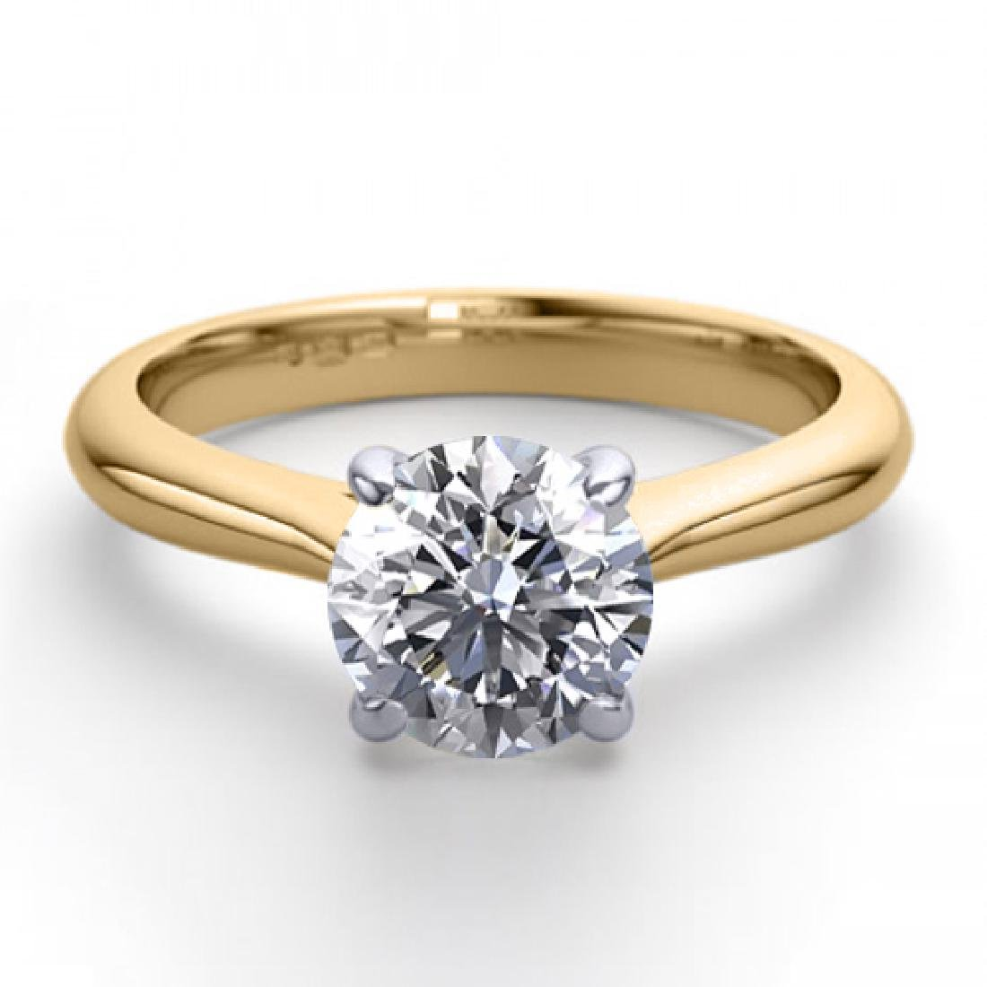 18K 2Tone Gold 0.83 ctw Natural Diamond Solitaire Ring