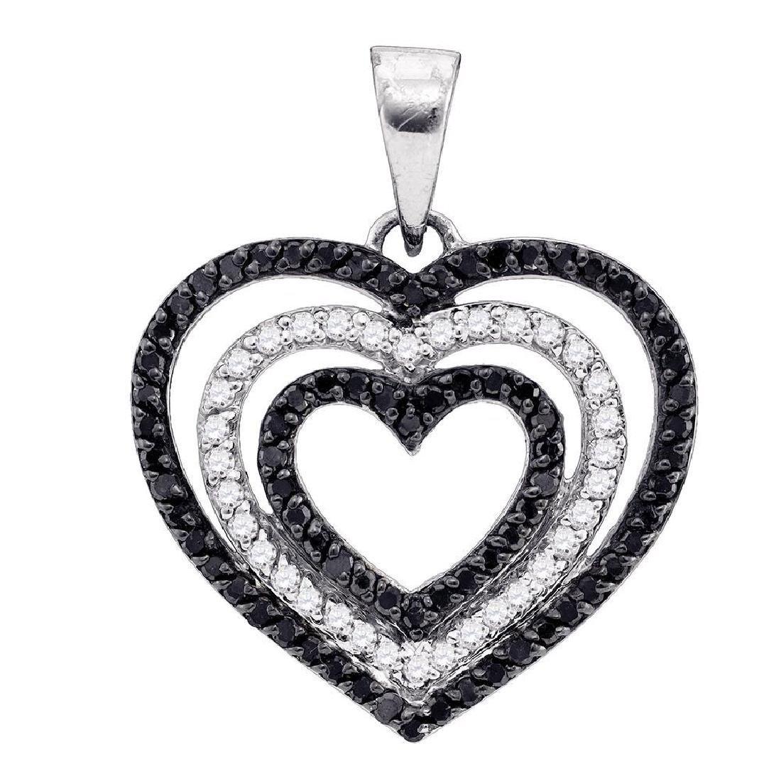 0.62 CTW Black Color Diamond Triple Nested Heart