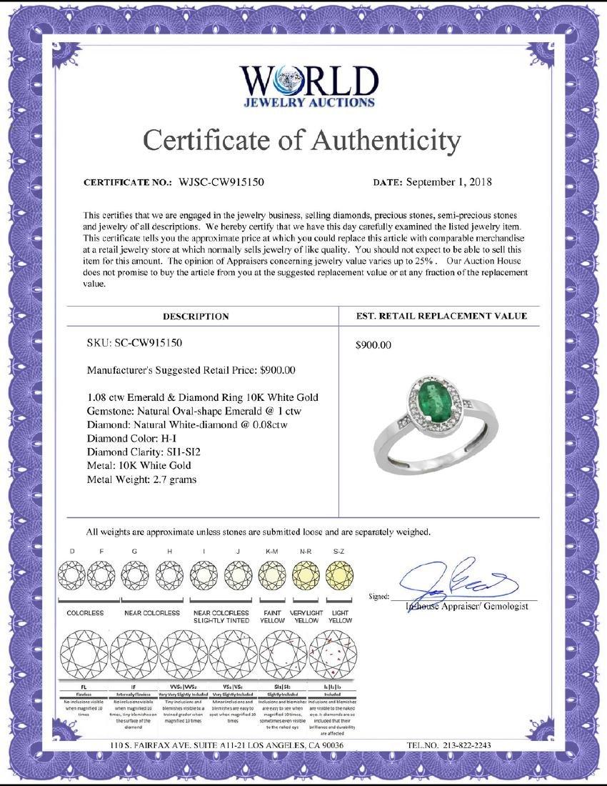 Natural 1.08 ctw Emerald & Diamond Engagement Ring 10K - 2