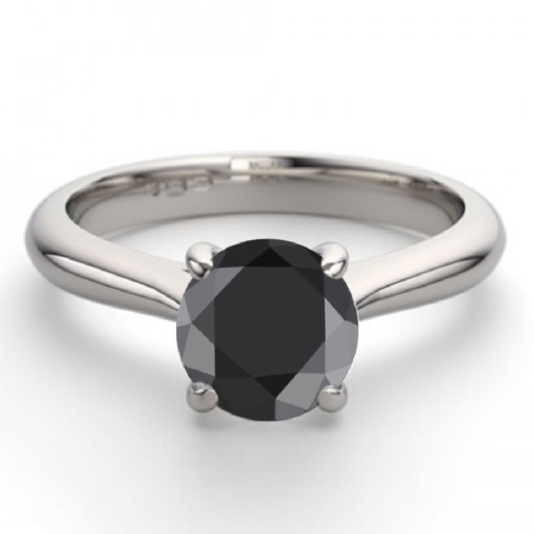 14K White Gold 1.13 ctw Black Diamond Solitaire Ring -