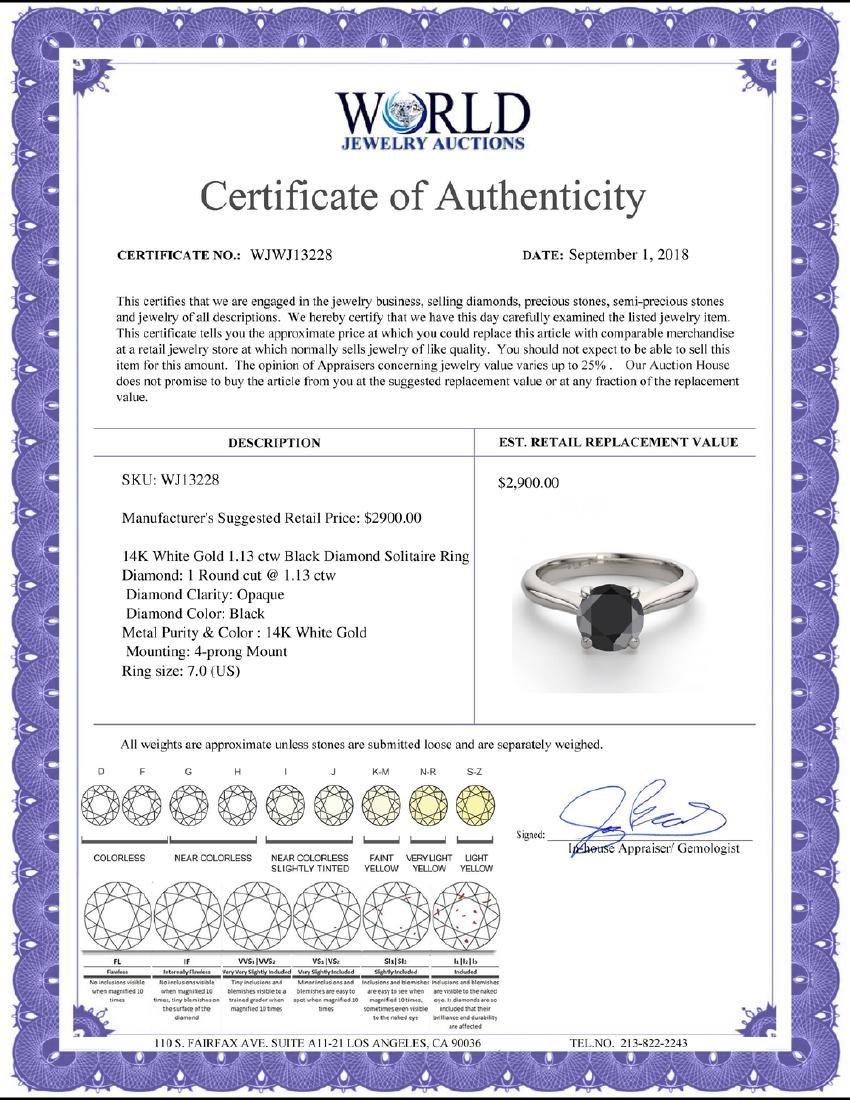 14K White Gold 1.13 ctw Black Diamond Solitaire Ring - - 2