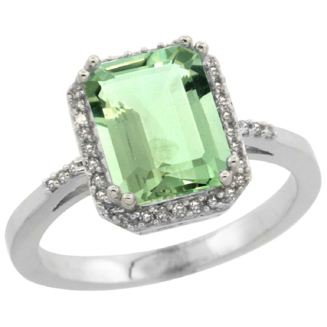 Natural 2.63 ctw green-amethyst & Diamond Engagement