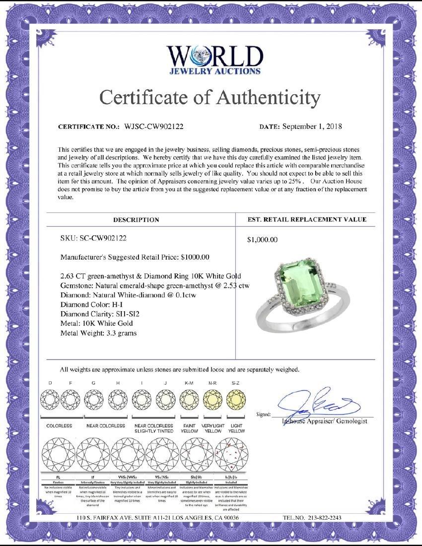 Natural 2.63 ctw green-amethyst & Diamond Engagement - 2
