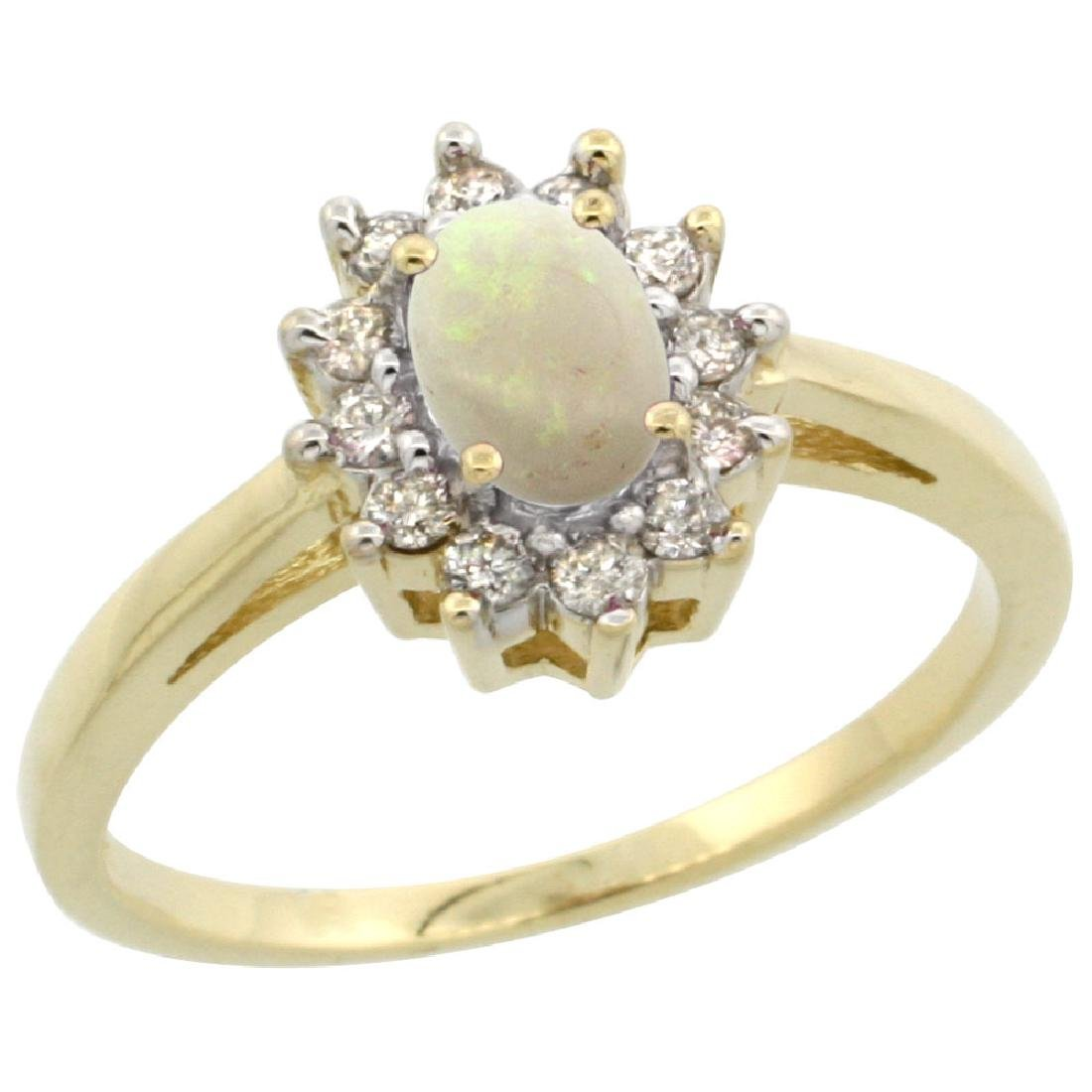 Natural 0.47 ctw Opal & Diamond Engagement Ring 14K