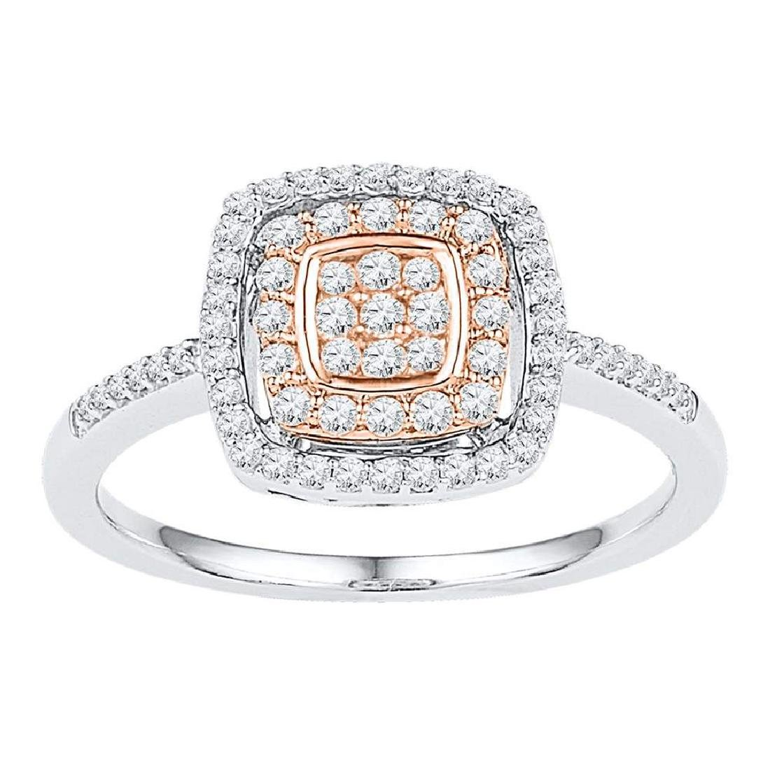 0.38 CTW Diamond Square Cluster Ring 10KT Two-tone Gold