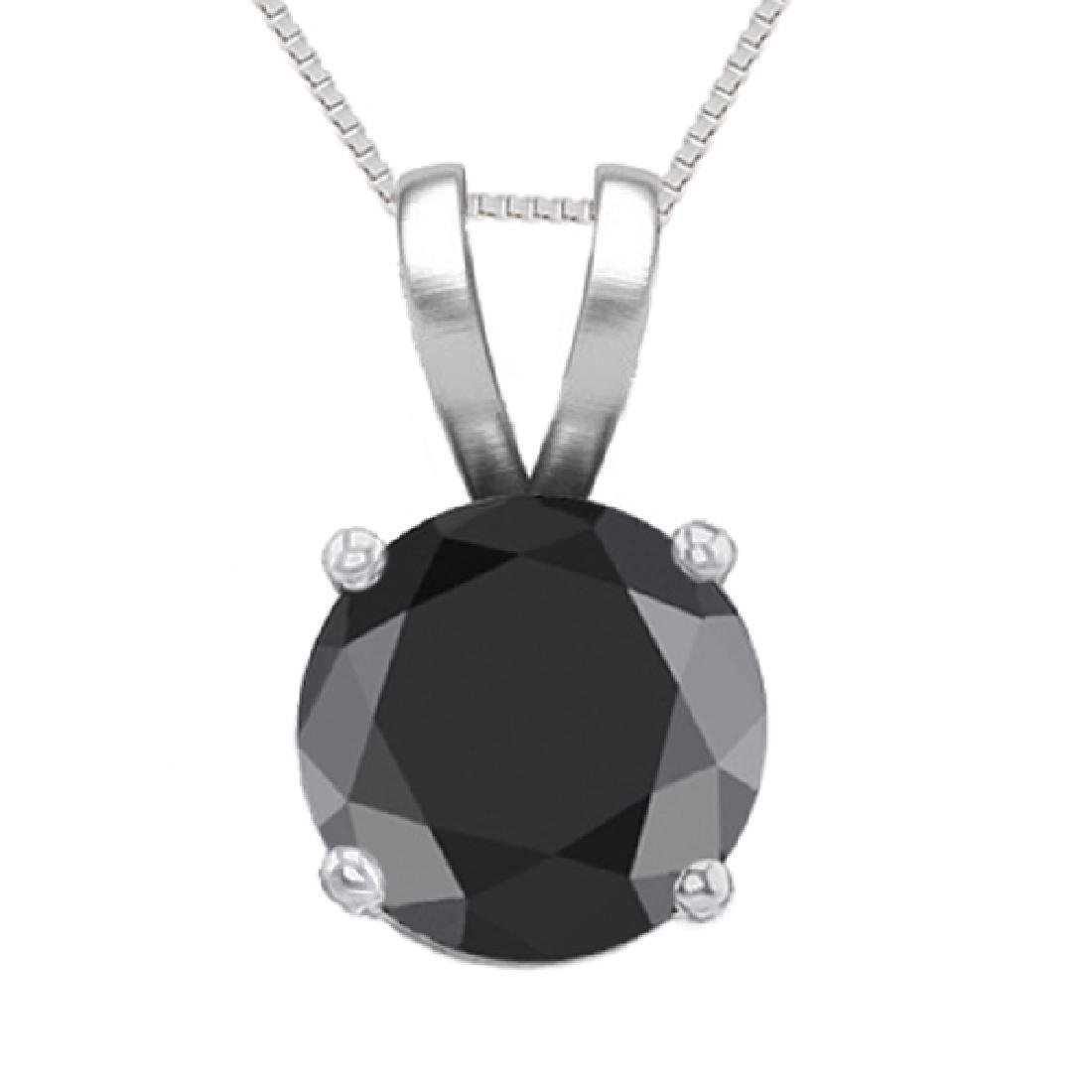 14K White Gold 0.76 ct Black Diamond Solitaire Necklace
