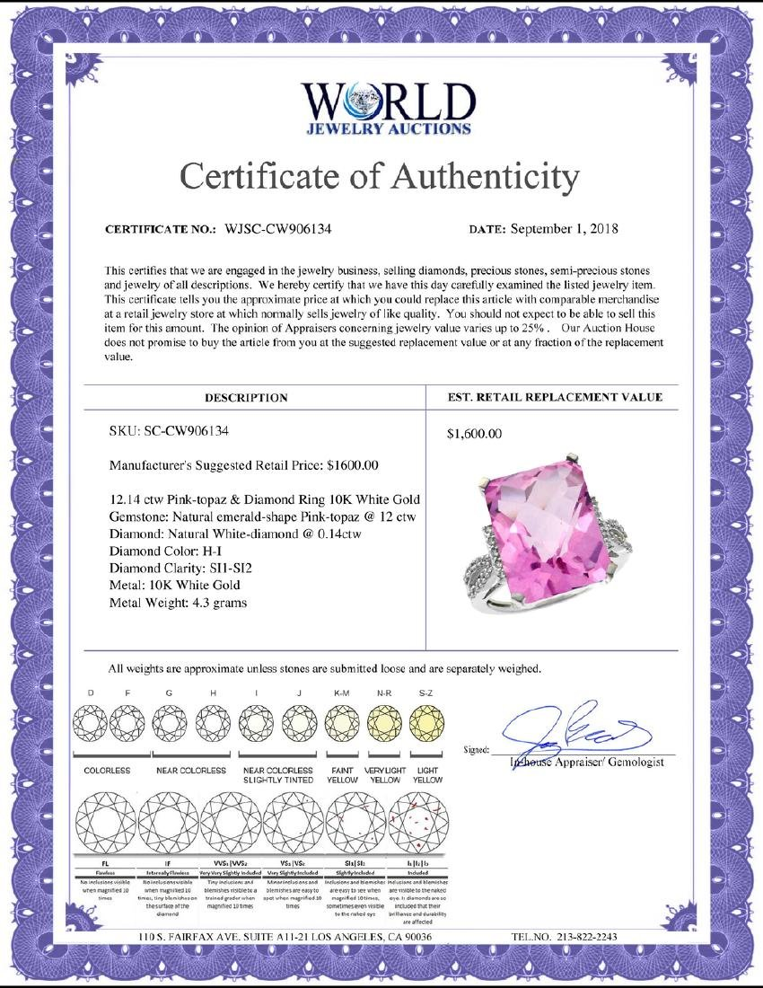 Natural 12.14 ctw Pink-topaz & Diamond Engagement Ring - 2