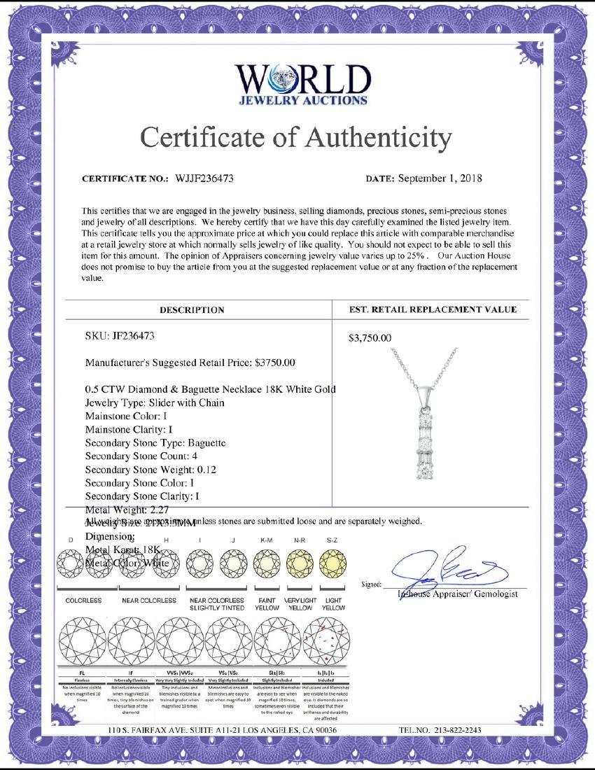 0.50 CTW Diamond Necklace 18K White Gold - REF-48M3F - 2