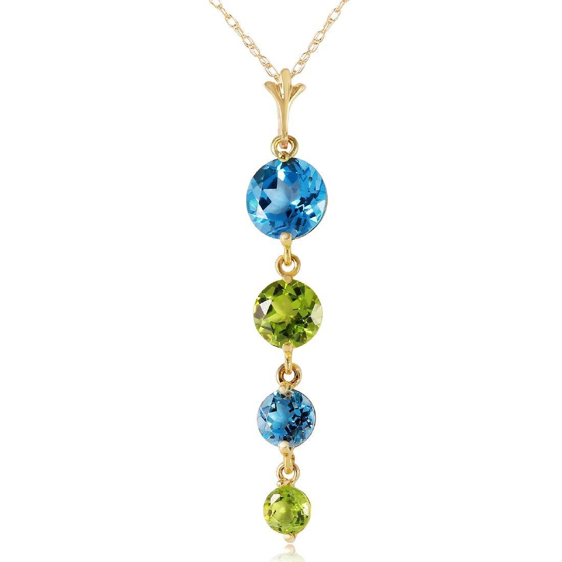 Genuine 3.9 ctw Blue Topaz & Peridot Necklace Jewelry