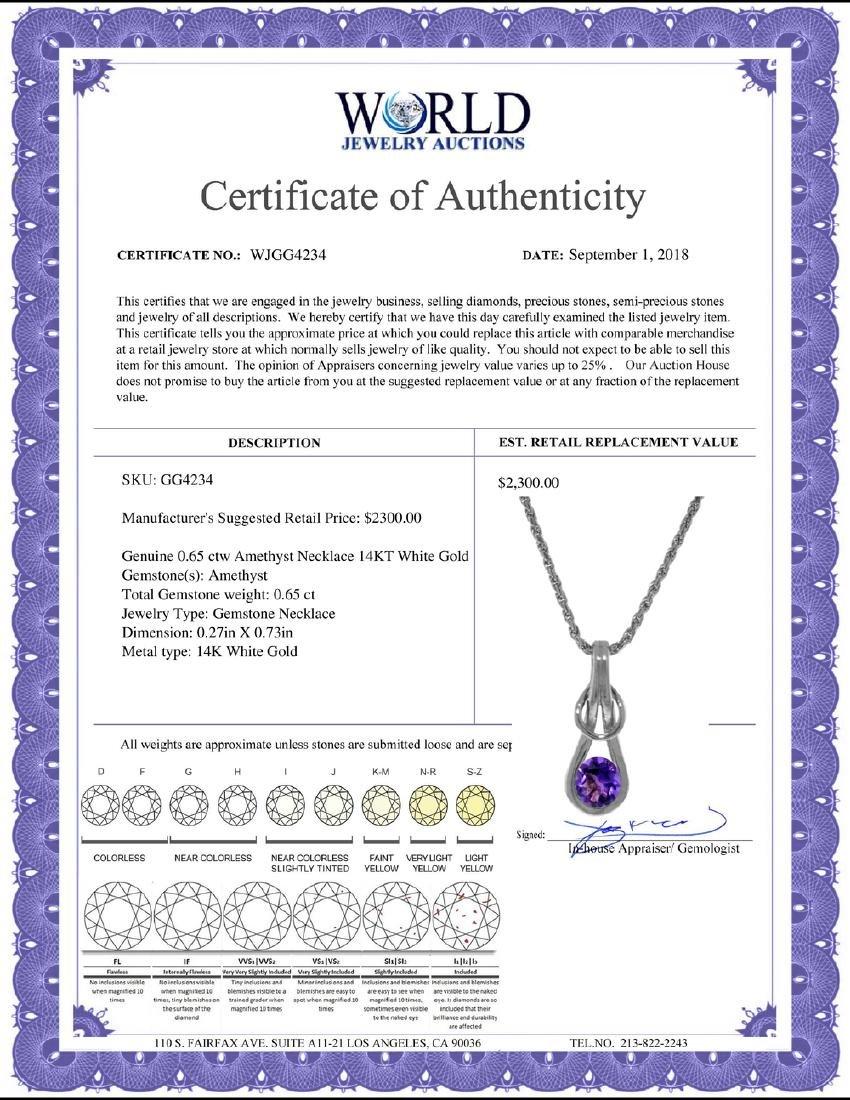Genuine 0.65 ctw Amethyst Necklace Jewelry 14KT White - 2