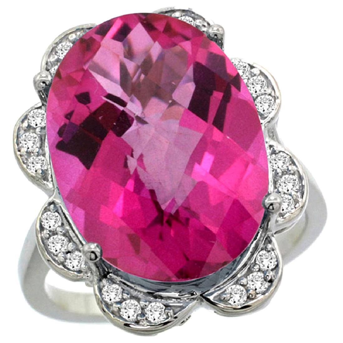 Natural 13.83 ctw pink-topaz & Diamond Engagement Ring