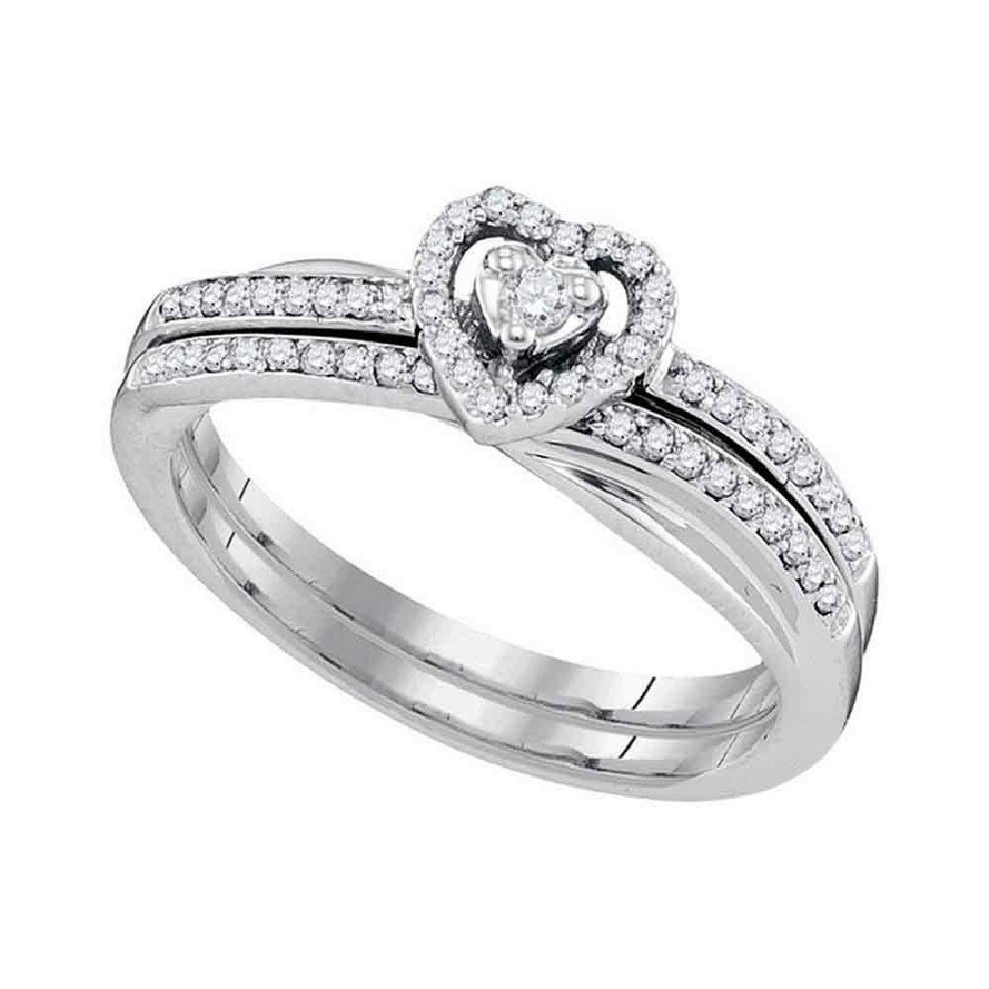 0.25 CTW Diamond Heart Bridal Engagement Ring 10KT