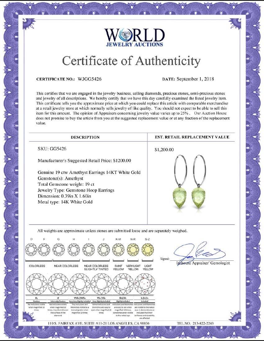 Genuine 19 ctw Amethyst Earrings Jewelry 14KT White - 2